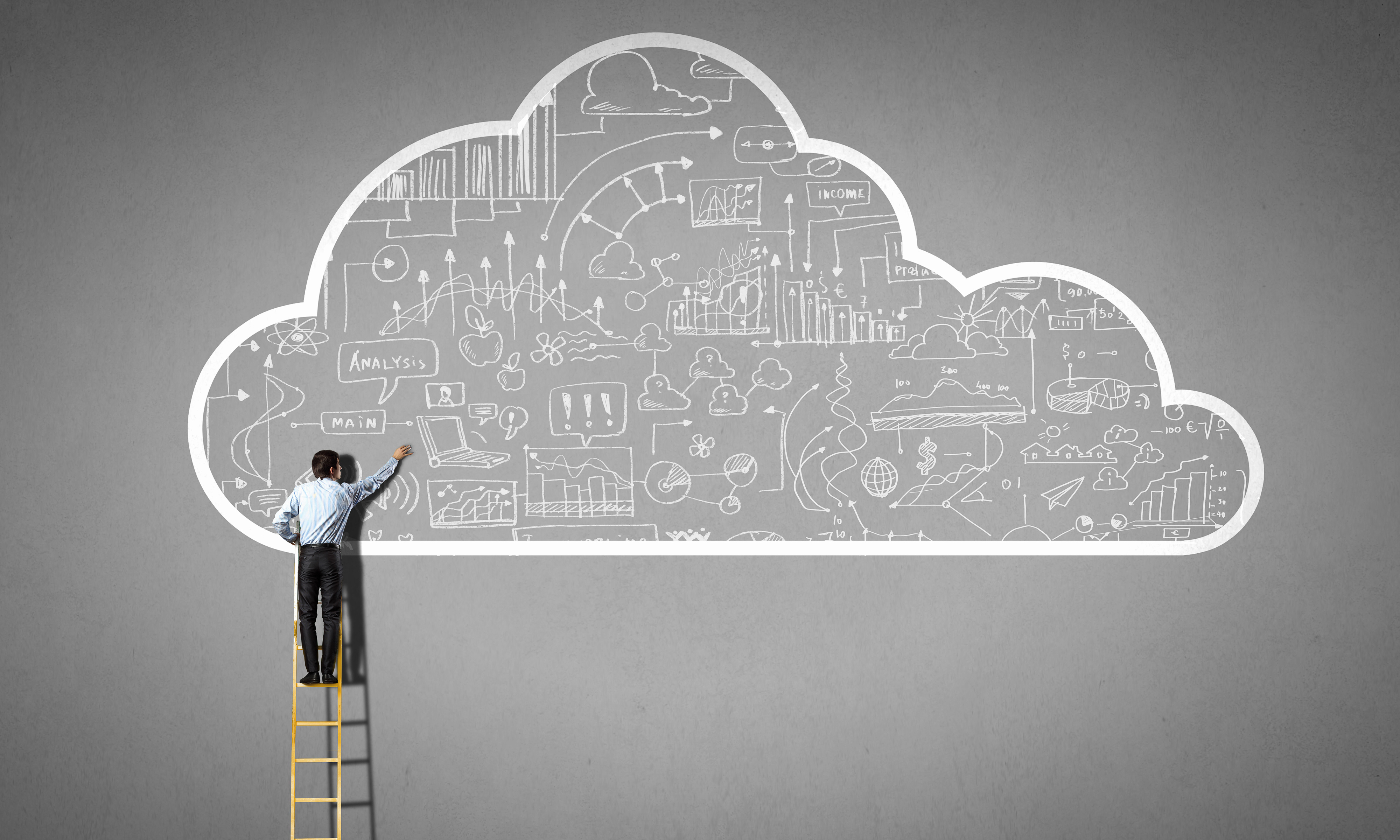 Man drawing cloud with computations