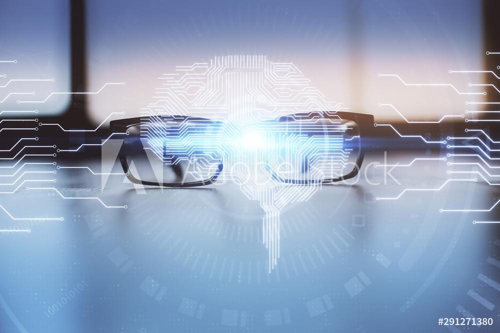 Digital brain superimposed on glasses